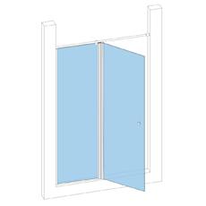 Дверь в проём с неподвижной створкой с монопетлей секло-стекло