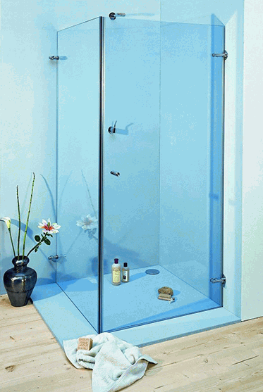 Colored glass showers