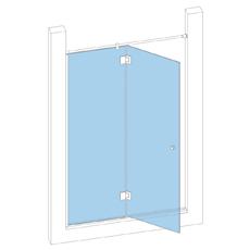 Дверь в проём с неподвижной створкой с петлями стекло-стекло