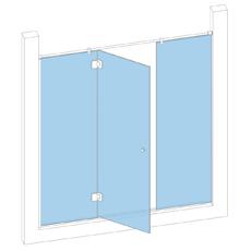 Дверь в проем с 2-мя неподвижными створками и одной дверью на петлях стекло-стекло