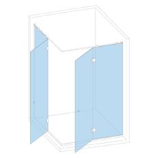 Душевая кабина в угол с двумя неподвижными  створками и двумя дверками на петлях стекло-стекло