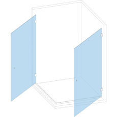 Угловая кабина с 2-мя дверьми  на петлях стекло-стена