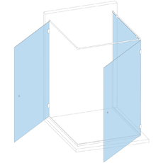 Кабина к стене с двумя створками (фурнитура Титан)